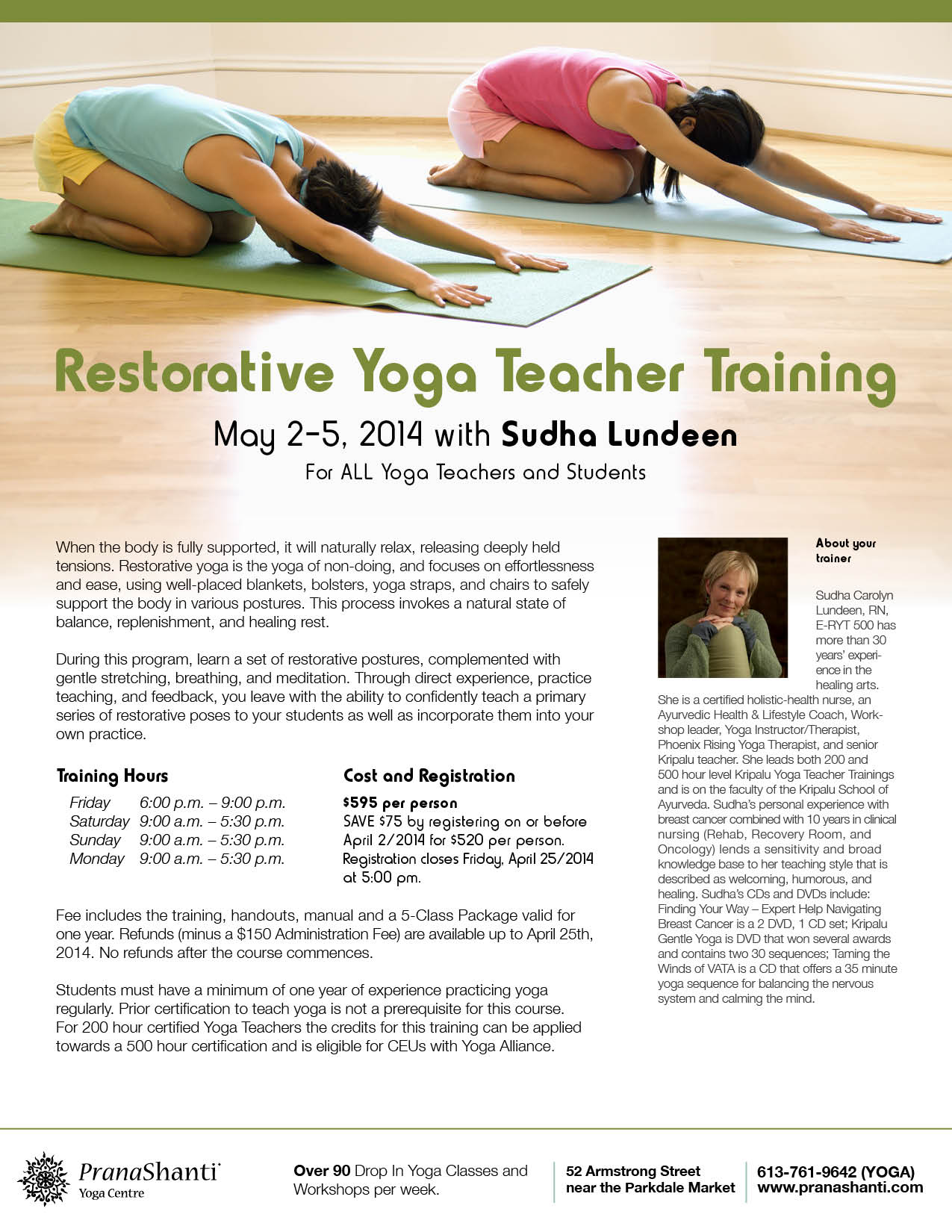 Restorative Yoga Teacher Training Pranashanti Ottawa On