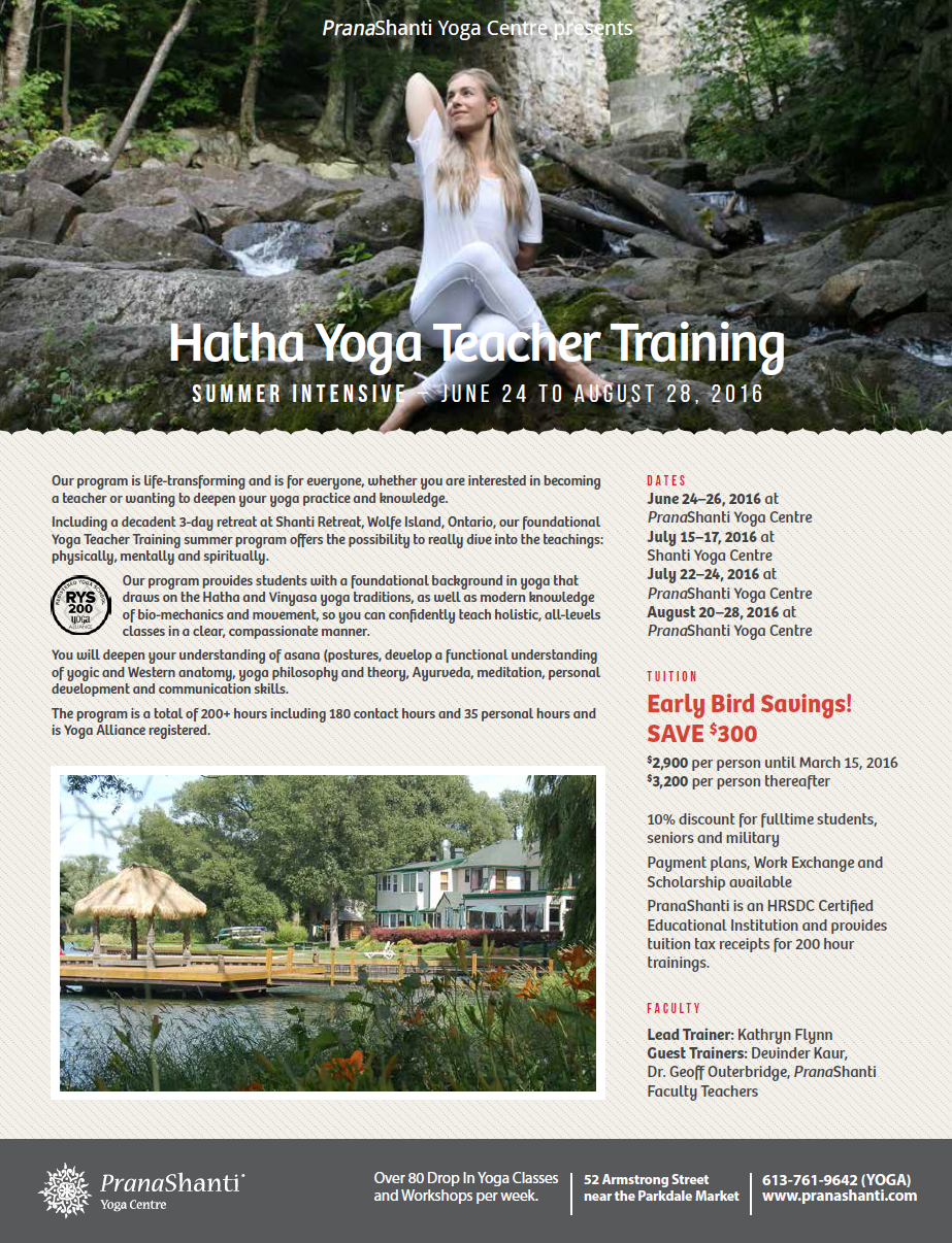 Hatha Yoga Teacher Training Ottawa Summer Pranashanti