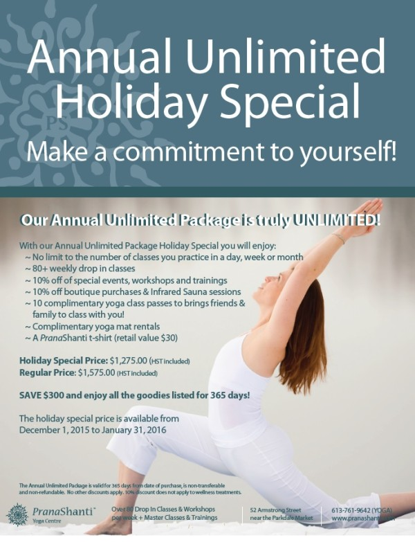 Annual Unlimited Holiday Savings 2015