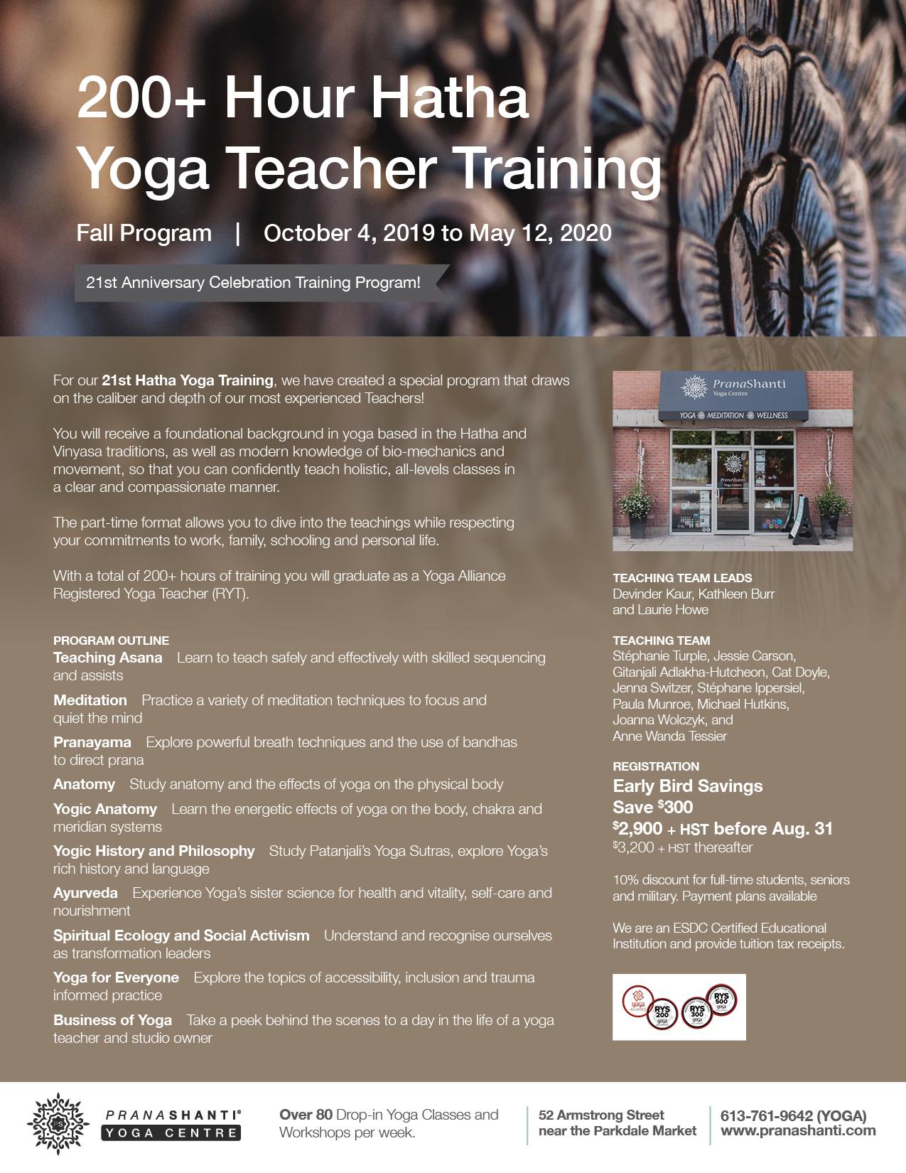 Hatha Yoga Teacher Training Fall Program - PranaShanti Yoga Centre